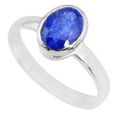 925 silver 2.02cts natural blue faceted sapphire solitaire ring size 7.5 r70680