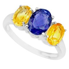 925 silver 4.87cts natural blue iolite oval yellow citrine ring size 8 r84089