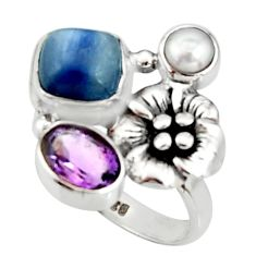 925 silver 6.32cts natural blue kyanite amethyst flower ring size 7.5 r22651
