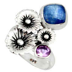 925 silver 4.21cts natural blue kyanite amethyst flower ring size 7.5 r22654