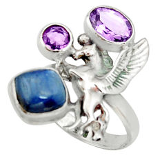 925 silver 6.76cts natural blue kyanite amethyst unicorn ring size 8 r22658