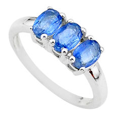 925 silver 2.73cts natural blue kyanite oval 3 stone ring size 7 t14790