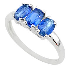 925 silver 2.96cts natural blue kyanite oval shape 3 stone ring size 7 t14796