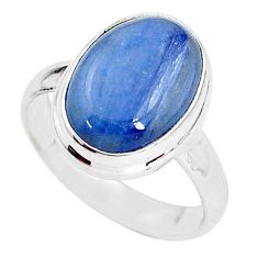 925 silver 6.36cts natural blue kyanite oval shape solitaire ring size 7 t2472