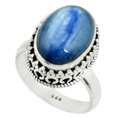 925 silver 6.46cts natural blue kyanite oval solitaire ring size 7.5 r22009