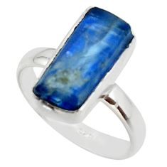 925 silver 7.04cts natural blue kyanite rough solitaire ring size 8 r49036