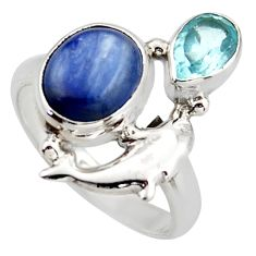 925 silver 5.79cts natural blue kyanite topaz dolphin ring jewelry size 7 d46055