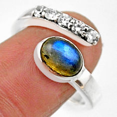 925 silver 3.91cts natural blue labradorite adjustable ring size 8.5 r54578