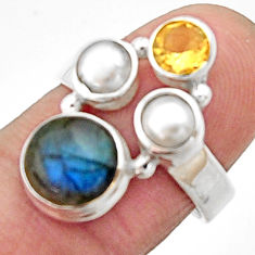 925 silver 5.84cts natural blue labradorite citrine pearl ring size 7 r22932