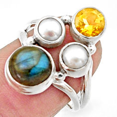 925 silver 6.02cts natural blue labradorite citrine pearl ring size 7 r22960
