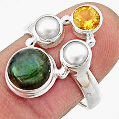 925 silver 5.63cts natural blue labradorite citrine pearl ring size 8 r22928