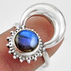 925 silver 3.11cts natural blue labradorite half moon ring jewelry size 7 r41636