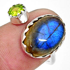 925 silver 7.24cts natural blue labradorite oval adjustable ring size 8 r33361
