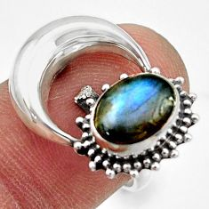 925 silver 3.32cts natural blue labradorite oval half moon ring size 7.5 r41773