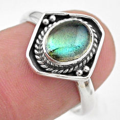 925 silver 2.11cts natural blue labradorite oval ring jewelry size 7 t29200