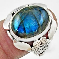 925 silver 10.02cts natural blue labradorite oval solitaire ring size 8.5 r22756