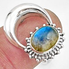 925 silver 3.43cts natural blue labradorite oval solitaire ring size 7.5 r26757