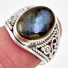 925 silver 6.22cts natural blue labradorite oval solitaire ring size 6.5 r35331