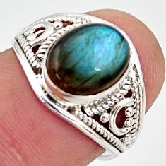 925 silver 4.05cts natural blue labradorite oval solitaire ring size 6.5 r35458