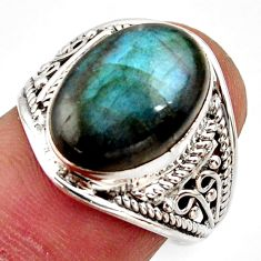 925 silver 6.72cts natural blue labradorite oval solitaire ring size 7.5 r35476