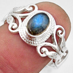925 silver 1.64cts natural blue labradorite oval solitaire ring size 8.5 r40975