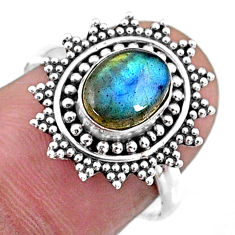 925 silver 2.21cts natural blue labradorite oval solitaire ring size 7.5 r57455