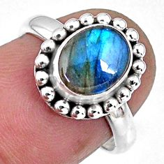 925 silver 3.10cts natural blue labradorite oval solitaire ring size 6.5 r57920