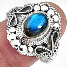 925 silver 3.25cts natural blue labradorite oval solitaire ring size 9.5 r61074
