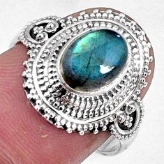 925 silver 3.01cts natural blue labradorite oval solitaire ring size 7.5 r61094