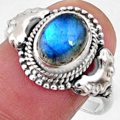 925 silver 3.17cts natural blue labradorite oval solitaire ring size 8.5 r64967