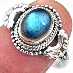 925 silver 3.30cts natural blue labradorite oval solitaire ring size 7.5 r64973