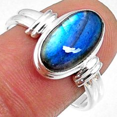 925 silver 4.92cts natural blue labradorite oval solitaire ring size 8.5 r66367