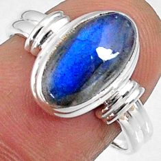 925 silver 4.43cts natural blue labradorite oval solitaire ring size 7.5 r66388