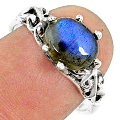 925 silver 2.92cts natural blue labradorite oval solitaire ring size 7.5 r68873