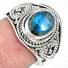 925 silver 3.01cts natural blue labradorite oval solitaire ring size 7.5 r74738