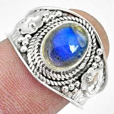 925 silver 3.19cts natural blue labradorite oval solitaire ring size 8.5 r74760
