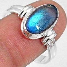 925 silver 4.68cts natural blue labradorite oval solitaire ring size 10 r66384