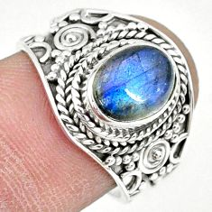 925 silver 3.01cts natural blue labradorite oval solitaire ring size 7 r74736