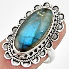 925 silver 10.33cts natural blue labradorite oval solitaire ring size 8 r22364
