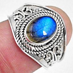 925 silver 3.27cts natural blue labradorite oval solitaire ring size 8 r58555