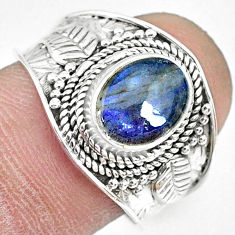 925 silver 3.01cts natural blue labradorite oval solitaire ring size 8 r74740