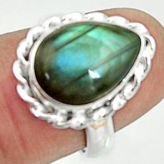 925 silver 6.36cts natural blue labradorite pear solitaire ring size 5.5 r22159