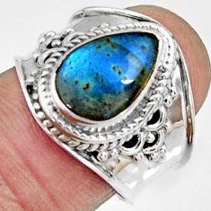 925 silver 4.17cts natural blue labradorite pear solitaire ring size 7.5 r22584