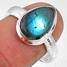 925 silver 4.70cts natural blue labradorite pear solitaire ring size 7.5 r66371