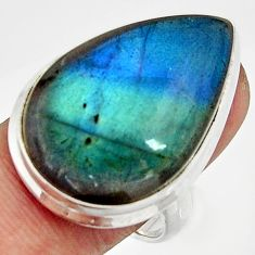 925 silver 25.19cts natural blue labradorite pear solitaire ring size 8 r26499