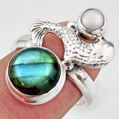 925 silver 6.57cts natural blue labradorite pearl fish ring size 7.5 d46138