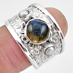 925 silver 4.93cts natural blue labradorite pearl solitaire ring size 7 r49840