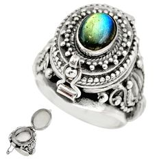 925 silver 2.37cts natural blue labradorite poison box ring size 6 r41197