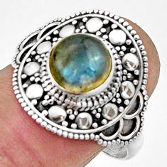 925 silver 3.14cts natural blue labradorite round solitaire ring size 9.5 r22484