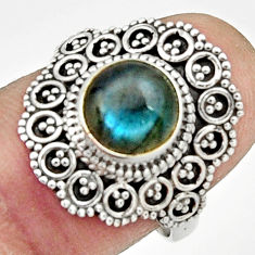 925 silver 3.19cts natural blue labradorite round solitaire ring size 7.5 r22498